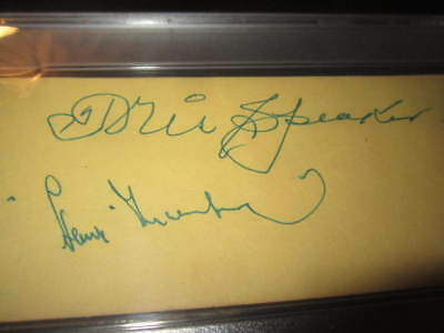 Tris Speaker Red Sox Baseball HOF Autographed Mint Album Page PSA SLAB Greenberg