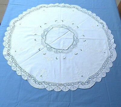 "Vintage Cotton Bobbin Cluny Lace 32"" Round Table Topper White"
