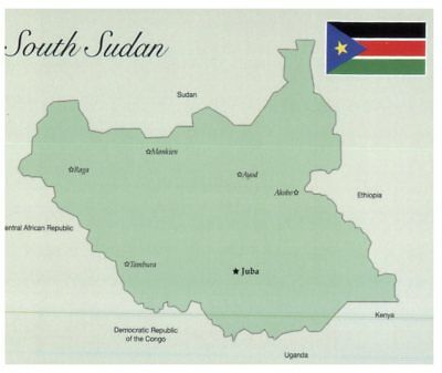Postcard Map South Sudan World Latest Country Added 2 16