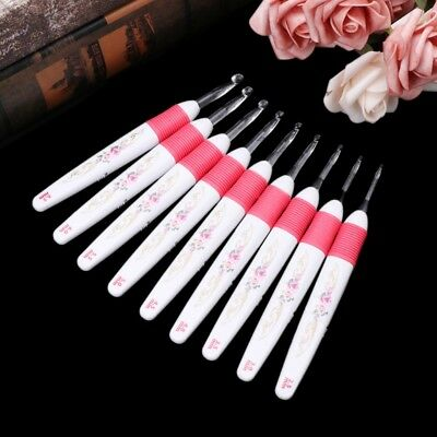 9Sizes LED Crochet Hooks Light up Knitting Needles Weave Sewing Tools Craft