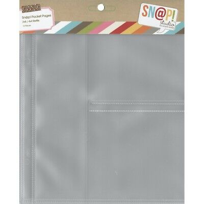 """Sn@p! Pocket Pages For 6""""x8"""" Binders 10/pkg-(1) 2""""x8"""" & (2) 4""""x4"""" Pockets"""