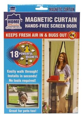 1x SET Magnetic Door Mesh Black Fly Screen Magic Magna Mosquito Bug Curtain