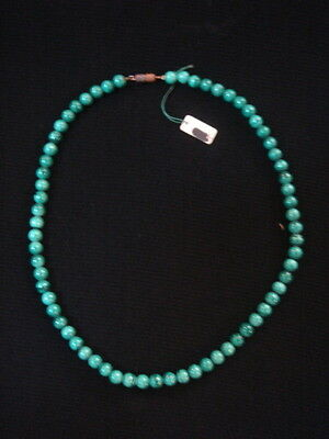 Necklace Of Pearls In Malachite Vintage 70 New 39 Cm/ Necklace Old New Vintage