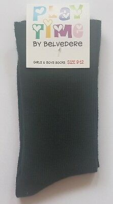 12 Pairs Australian Made Girls Sz 9-12 Bottle Green 95% Cotton School Socks