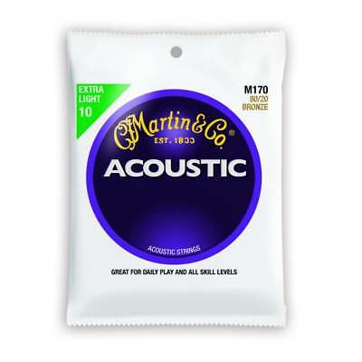 Martin M170 Light 80/20 Bronze Acoustic Guitar Strings. 10-47 Set of 6.