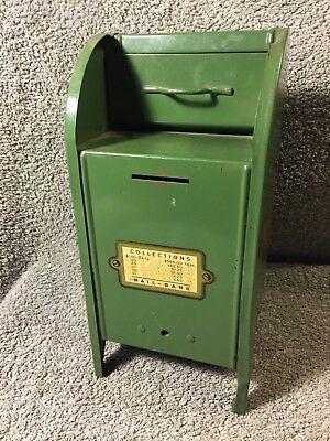 Vintage Large All-American Green USPS Mailbox Coin Bank w/working door