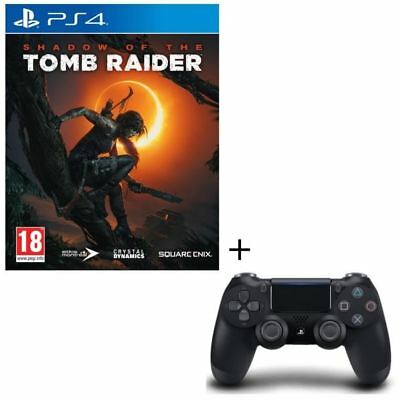 Pack Shadow of the Tomb Raider Jeu PS4 + Manette DS4 Noire