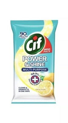 Cif Power & Shine Citrus Fresh Antibacterial Wipes 90 per pack X 3.