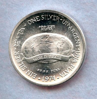 1974 WORLD TRADE ~ .999 SILVER 1oz. ROUND