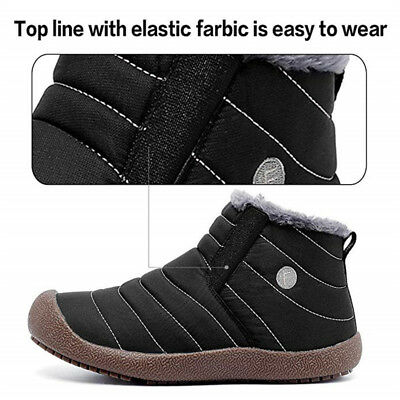 Men's Snow Ankle Boots Fur Lined Winter Warm Casual Cotton Shoes Lightweight New