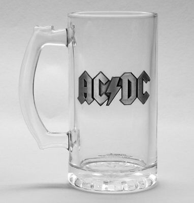 Official Ac/dc Metal Logo Glass Beer Stein Ale Tankard