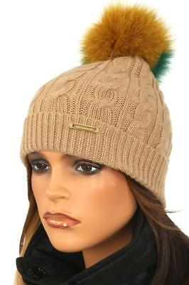 New Burberry Luxury Cable Knit Wool Cashmere Beanie Pom Pom Fox Fur Hat One  Size 9b5a29891cae