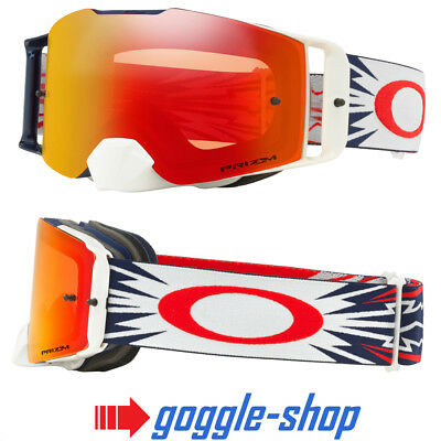 Oakley Front Line Motocross Mx Goggles - High Voltage Navy Red / Prizm Torch