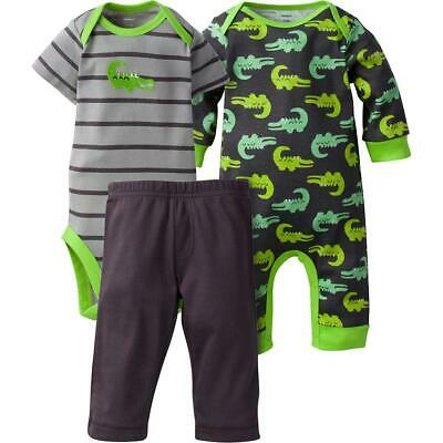 Gerber Baby Boy 3 Piece Coverall, Bodysuit, and Pant Set, Alligator