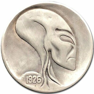 Hobo Nickel Coin 1926 Buffalo Ufo Alien Hand Engraved by Gediminas Palsis
