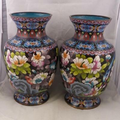 "Cloisonné Vases,19th Century,  Pair, Large, Standing 12"", China"