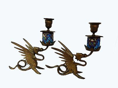 French Gothic Candle holders w/Gargoyles Pair