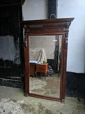 Exceptional Quality Oak Antique Heavily Carved Large French Wall Mirror