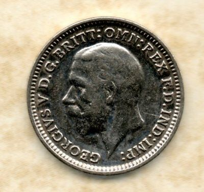 50% silver 3d Three Pence coins George 5th 1930 - 1936 Grade Fine to UNC