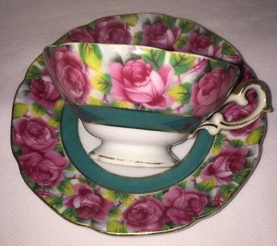 Napco Vintage China Tea Cup & Saucer Roses with Gold Trim Turquoise
