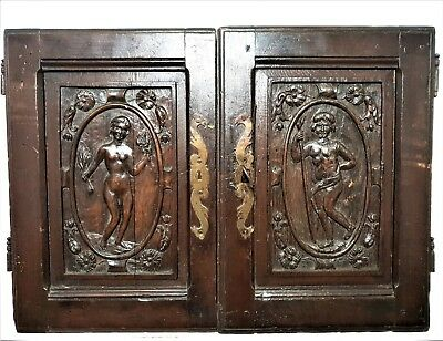Pair gothic nude wooman man cabinet panel door Antique french salvaged furniture