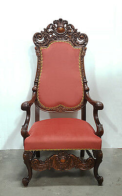 Large Carved Italian Renaissance Style Upholstered Arm Chair