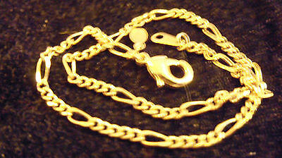 bling gold plated 3MM 18 IN figaro chain hip hop necklace fashion thug jewelry
