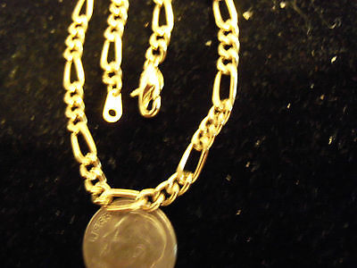 BLING gold Plated 5MM 18 IN figaro chain hip hop FASHION necklace RAPPER JEWELRY