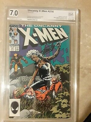 Uncanny X-Men #216 PGX 7.0 signed by STAN LEE !!! like CGC ! Great display piece