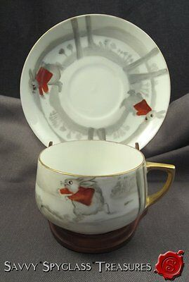 Old Hand Painted Porcelain Cup & Saucer w/Running Rabbit Wearing Jacket Peter?