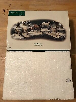 NEW in Box 1998 Department Dept 56 #52747 Snow Village THOROUGHBREDS Set of 5