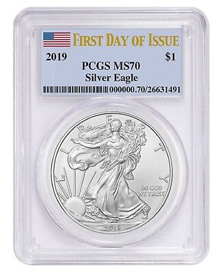 2019 1oz Silver Eagle PCGS MS70 - First Day Issue Label
