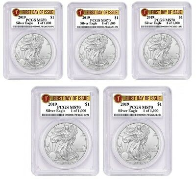 2019 1oz Silver Eagle PCGS MS70 First Day Issue - 1 of 1000 - 5 Pack