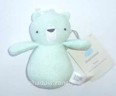 061936730533e NWT Cloud Island Mint Green Bear Knit Rattle Target Stuffed Baby Lovey Toy