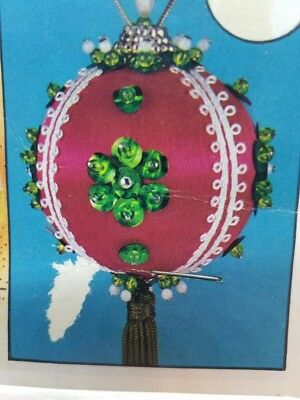 Vintage Holiday Ind. 1980 PEPPERMINT DANDY Christmas Ornament Craft Kit Sequins