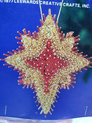 Vintage LeeWards THE HOLY STAR Boutique Christmas Ornament Craft Kit Sequin Bead