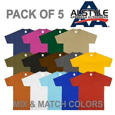AAA Alstyle Apparel 1301 Plain Casual Crew Neck Short Sleeve T-shirts 5-PACK