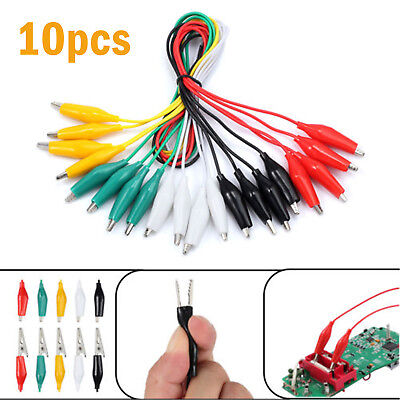 10 20X Electric Alligator Crocodile Clip Test Leads Cable Double-ended Jump Wire