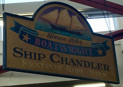 Vintage BOATWRIGHT - SHIP CHANDLER Large Hanging Nautical Wooden Sign 2-Sided