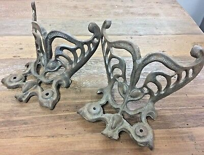 Pair Of Cast Iron Antique Stove Feet Or Legs Openwork Design Great Condition