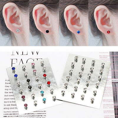 12 Pairs Crystal Rhinestone Magnetic Clip Non Piercing Earrings Fashion Jewelry