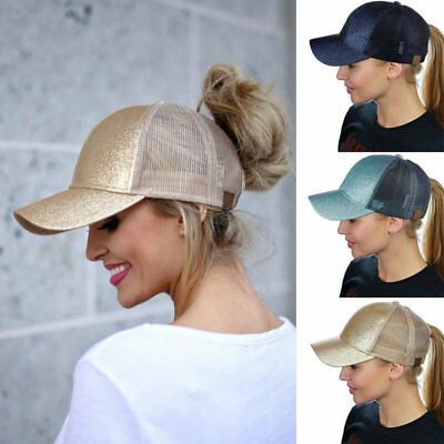 Women Ponytail Baseball Cap Sequins Shiny Messy Bun Snapback Hat Sun Caps AU HOT