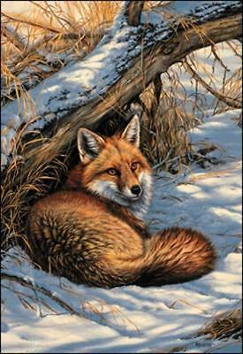 Wildlife RED FOX in Brush Snow Scene Christmas Holiday Cards Made in USA