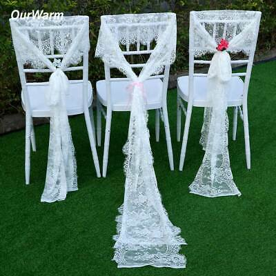 20×White Lace Table Runner Tablecloth Chair Sash Boho Wedding Banquet Party Deco
