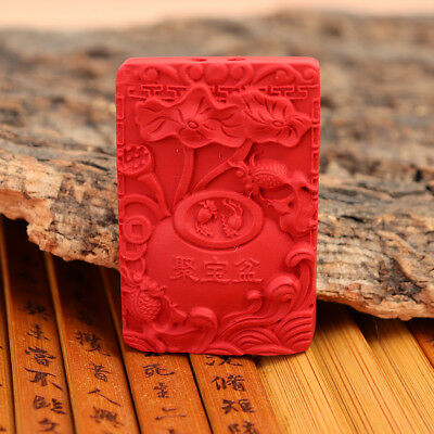 Natural Exquisite Chinese Cinnabar Hand Carving Treasure Bowl Statue Statues
