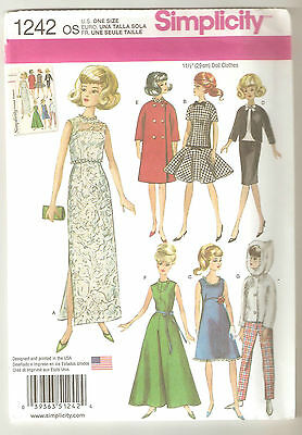 """Simplicity Sewing Pattern 1242 Vintage Doll Clothes 11 1/2"""" Barbie Fashion Doll"""