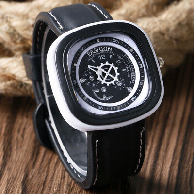 Men Military Unique Square Dial Quartz Analog Army Casual Dress Wrist Watches