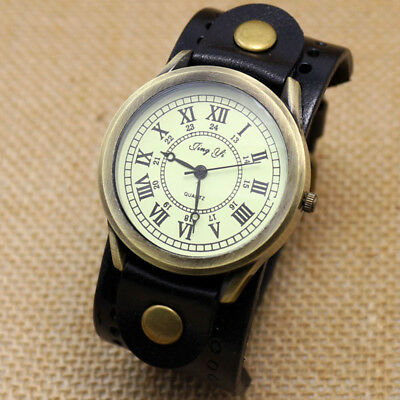 Unique Big Round Dial Leather Strap Men Military Army Quartz Wrist Watch Gift
