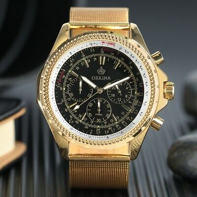 MG.ORKINA Men's Gold Case Chronograph Dial Quartz Stainless Steel Wrist Watch