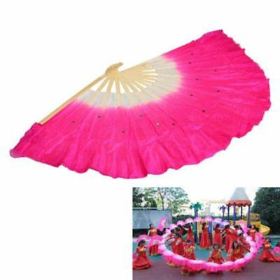 Traditional Chinese Folk Rose Red Silk Fan Belly Dancing Bamboo Fan